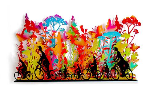 Magical Day, Riding in Coloros, Metal Wall Sculpture
